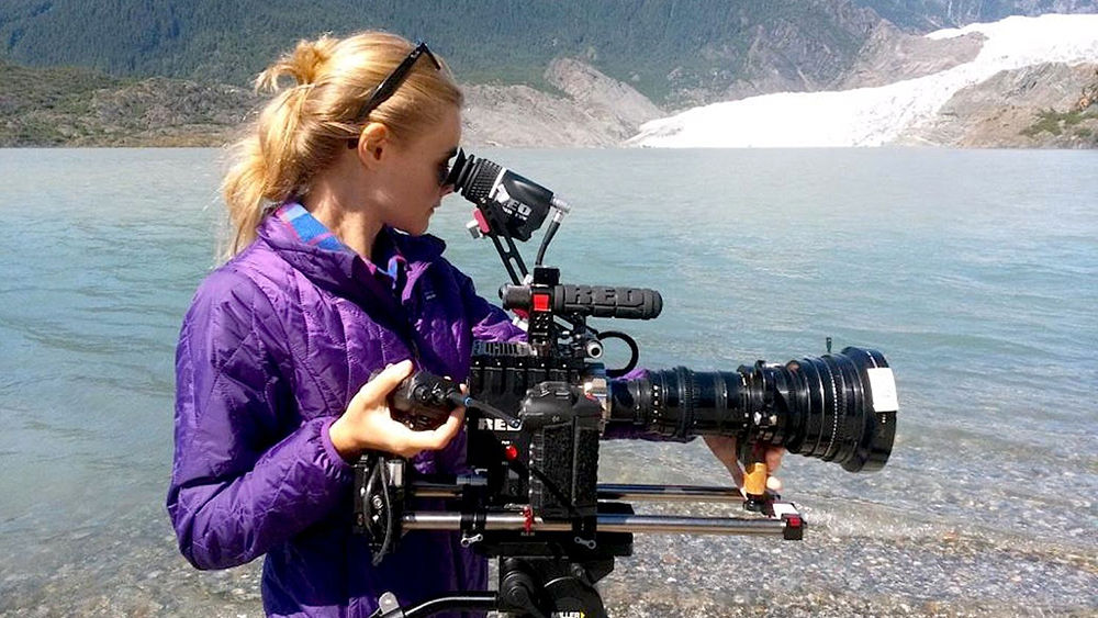 Julia W. Nason on location at Mendenhal Glacier
